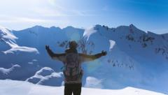 Man Beautiful Success Sky Peak Nature Mountain Worship Outdoor Happiness Freedom Stock Footage