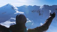 Hand Silhouette Person Sport Fitness Winter Man Nature Winter Sun Arms Success - stock footage