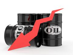 Oil Barrels with Red Arrow down. Financial crisis - stock illustration