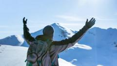 Arms Success Freedom Top Mountain Sky Nature Person Achievement People Man Stock Footage