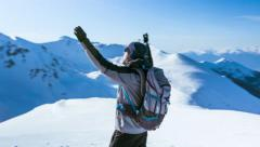 Silhouette Man Nature Face Winter Sun Spring Arms Success Freedom Top Mountain Stock Footage