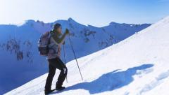 Mountain Hiker Climbing Adventure Success Top Snow Man Climber Hiking Travel Sky Stock Footage