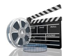3d illustration of cinema clap and film reel, over white background - stock illustration