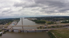 Traffic moving over Toledo Ohio Bridge on Cloudy Day Aerial View Stock Footage