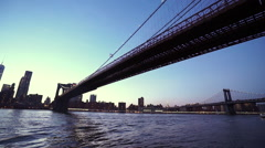 Manhattan Bridge over Hudson River New York - stock footage