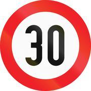 Speed Limit 30 in Austria - stock illustration
