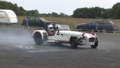 White Caterham 7 drift Stock Footage