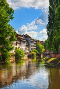 Strasbourg, water canal in Petite France area, Unesco site. Alsace. Stock Photos