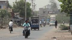 Rural Slum Road of Gujarat India Stock Footage