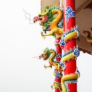 Chinese style of dragon decorate at column Stock Photos
