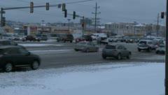 Winter traffic on suburban street Stock Footage