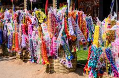 Decorative flag and sand, Thai traditional in Songkran festival - stock photo