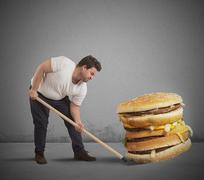 Lift giant sandwich - stock photo