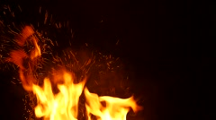 Slow Motion Sparks and Fire Over Black - stock footage