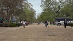 Colonial Williamsburg Virginia main street tourist bus 4K 021 Stock Footage