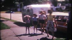 2019 - a family comes home after trailer vacation - vintage film home movie - stock footage