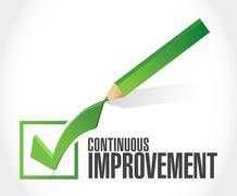 continuous improvement check mark sign concept - stock illustration