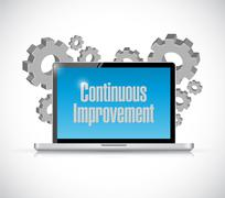 Stock Illustration of continuous improvement tech computer sign concept