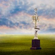 Stock Photo of Football trophy with nice landscape background, Success concept