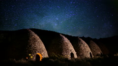 4K Death Valley Night Sky 05 Timelapse Milkyway Charcoal Kiln Stock Footage