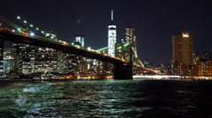 Fantastic night view on Brooklyn Bridge and Manhattan skyline - stock footage