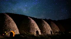 4K Death Valley Night Sky 06 Timelapse Milkyway Charcoal Kiln Stock Footage