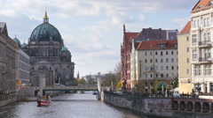 Berliner dom cathedral seen from spree river 4k Stock Footage