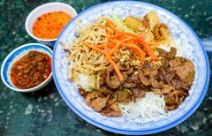 Traditional Vietnamese Bun Vermicelli Salad Stock Photos