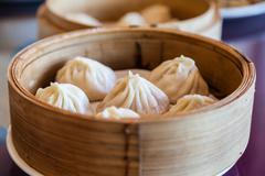 Traditional Chinese Soup-Filled Pork Dumpling Xiao Long Bao - stock photo