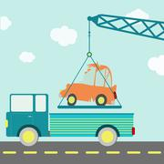 Crashed car on a truck Stock Illustration