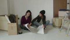 Female College Students Friends Girls Women Rent New Apartment House - stock footage
