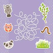Zebra panda owl  labyrinth game for Preschool Children. Vector Stock Illustration