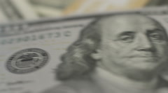 Stock Video Footage of Financial crisis, one hundred dollar bill, U.S. money, inflation