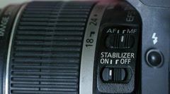 Stabilizer Button On Lens Stock Footage