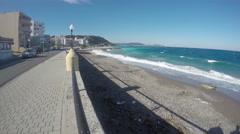 Beautiful Aegean sea resort coast in  Rhodes, Greece, time-lapse 4K Stock Footage