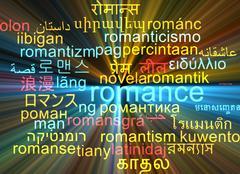 Romance multilanguage wordcloud background concept glowing - stock illustration