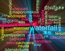 Waterfall multilanguage wordcloud background concept glowing - stock illustration