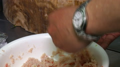Kneading lotus roots for cake Stock Footage