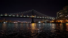 Hudson River New York with Manhattan Bridge Stock Footage