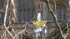 A small sprouting fountain on Westminster Abbey Stock Footage