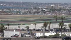 Jets lands on runway Stock Footage