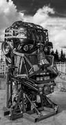 Scrap Metal Human Robot Head Stock Photos