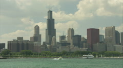 Chicago skyline - pan from right to left v2 (mute) Stock Footage