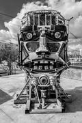 Robot Head Made from Assorted Junk Metal Stock Photos