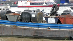 A junk ferry boat with junk materials on it Stock Footage