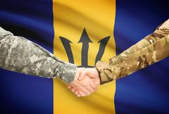 Soldiers shaking hands with flag on background - Barbados - stock illustration