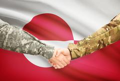 Soldiers shaking hands with flag on background - Greenland - stock illustration