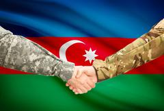 Stock Illustration of Soldiers shaking hands with flag on background - Azerbaijan
