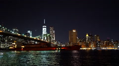 Boats on Hudson River New York by night - stock footage