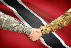 Stock Illustration of Soldiers shaking hands with flag on background - Trinidad and Tobago